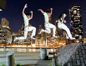 X jumping over roosevelt island
